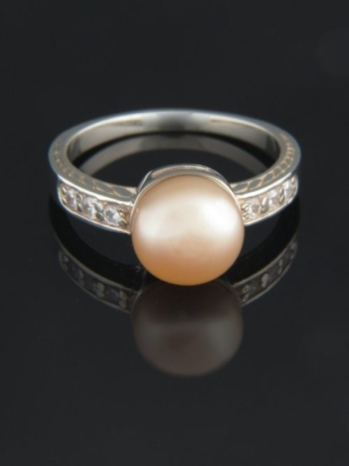 Pink Pearl Ring with Zircon - Sterling Silver - Y110R