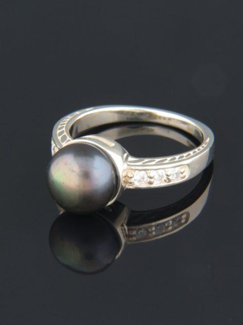 Dark Pearl Ring with Zircon - Sterling Silver - Y111R