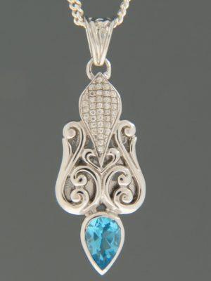 Blue Topaz Pendant - Sterling Silver - BT399