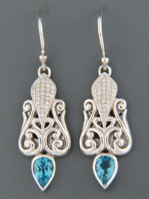 Blue Topaz Earrings - Sterling Silver - BT589