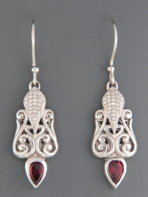 Garnet Earrings with Zircon - Sterling Silver - G623