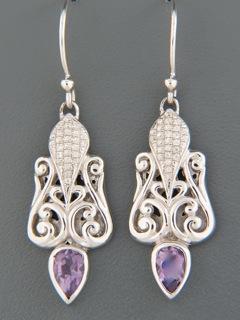 Amethyst Earrings with Zircon - Sterling Silver - A693