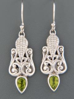 Peridot Earrings with Zircon - Sterling Silver - P568