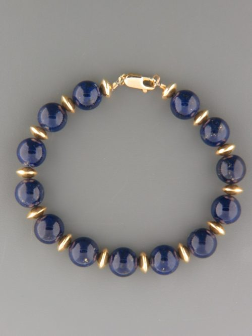 Lapis Lazuli Bracelet - 10mm round stones with gold beads - LL902