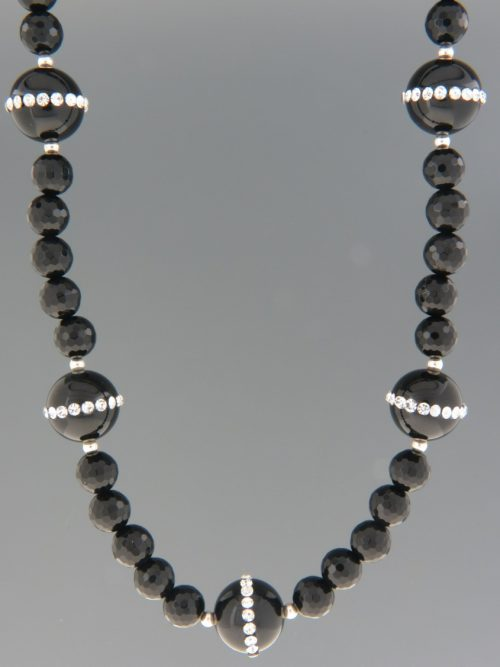 Onyx Necklace with Zircons - 45cm - OX092