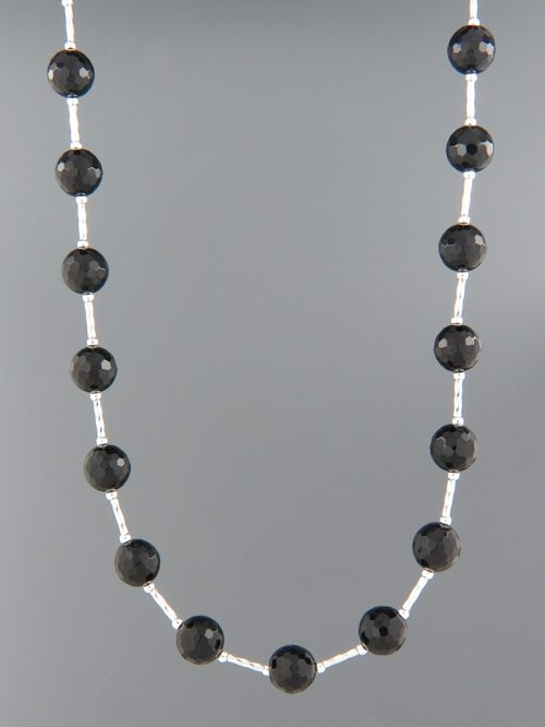 Onyx Necklace - 8mm stones with Silver twist beads - OX095