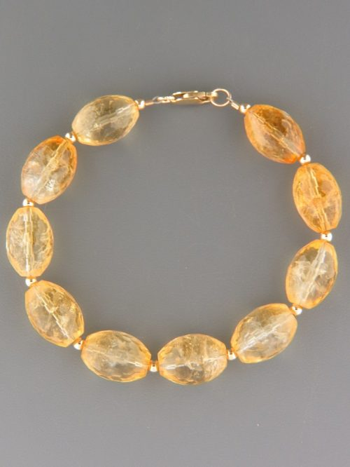 Citrine Bracelet - oval faceted stones with round beads - C920