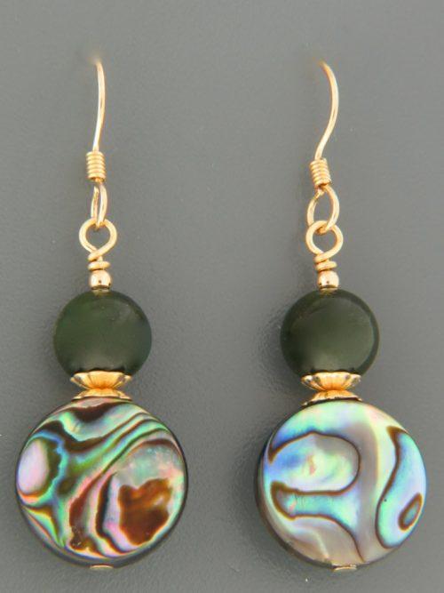 Paua Shell & Jade Earrings - 14ct Gold Filled - PA537G