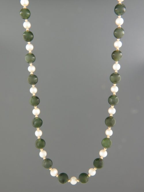 Jade & Pearl Necklace with Gold beads - J051