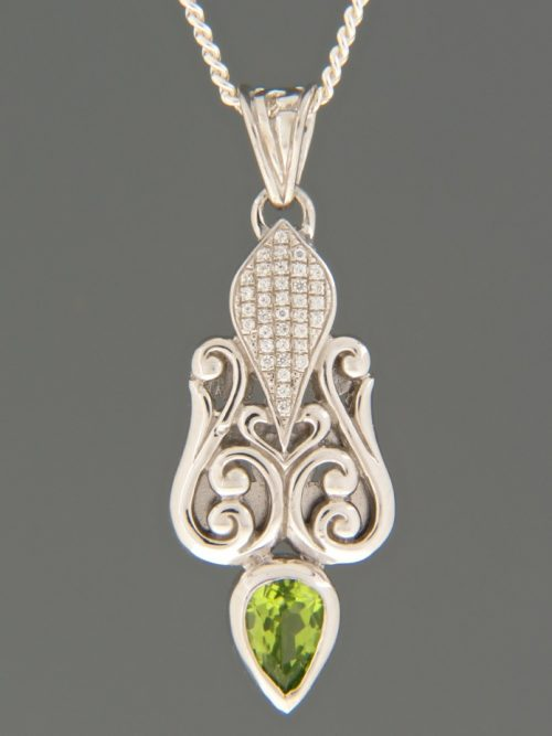 Peridot Pendant with Zircon - Sterling Silver - P350