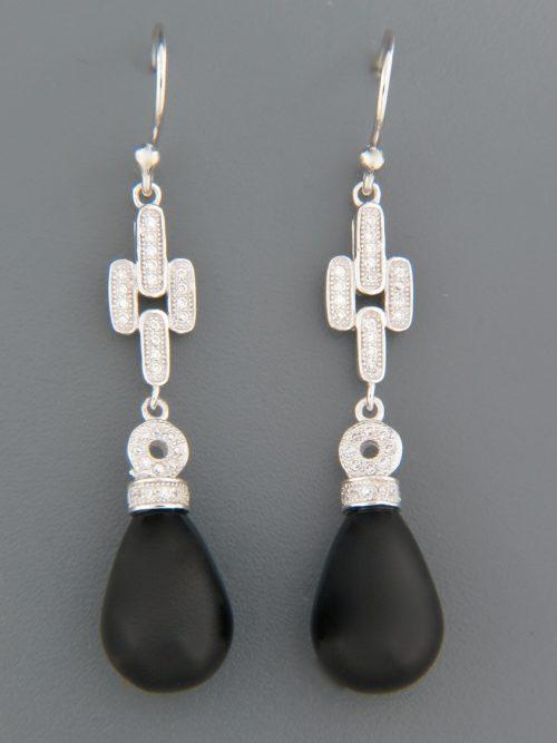 Onyx Earrings with Zircon - Sterling Silver - OX541