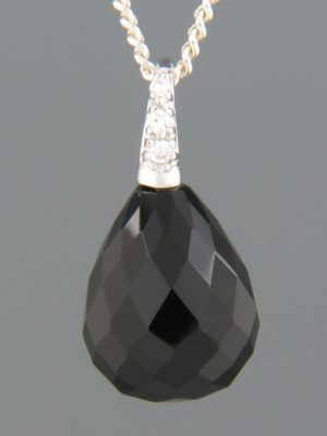 Onyx Pendant with Zircons - Sterling Silver - OX356