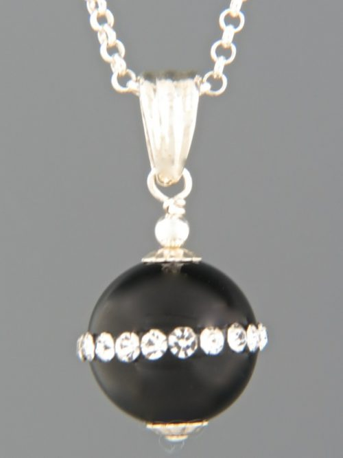 Onyx Pendant with Zircons - Sterling Silver - OX358