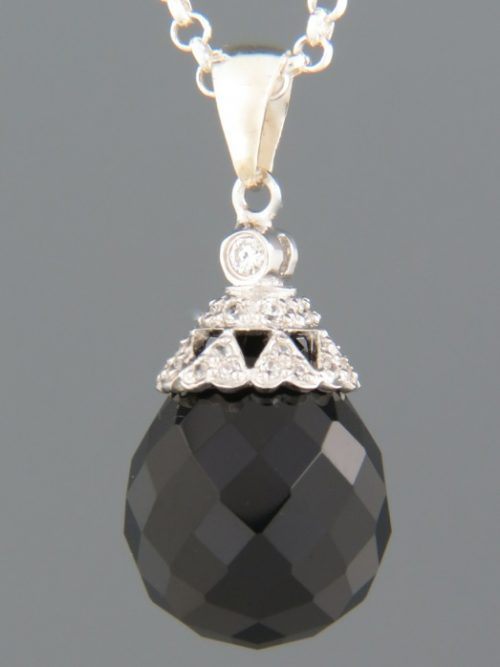 Onyx Pendant with Zircon - Sterling Silver - OX363