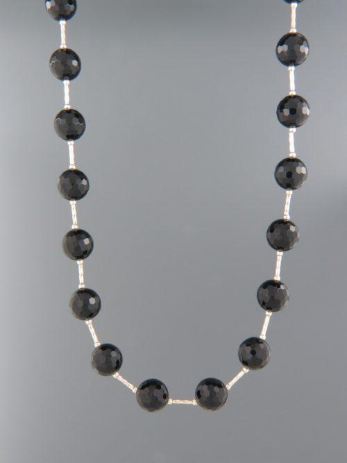 Onyx Necklace - 10mm stones with Silver twist beads - OX094