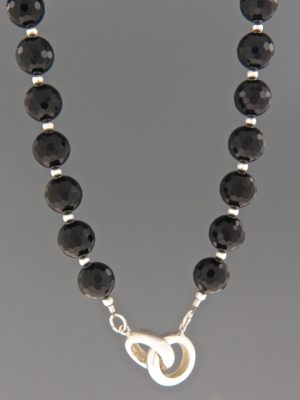 Onyx Necklace - 10mm round faceted stones - OX088