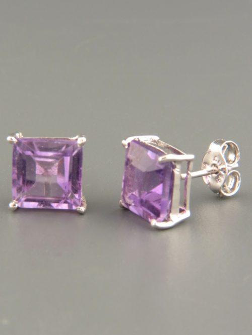 Amethyst Earrings - 8mm stones - A667