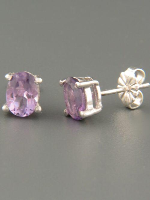 Amethyst Earrings - Sterling Silver - 5x7mm stones - A658