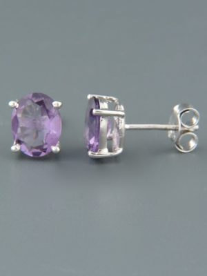 Amethyst Earrings - Sterling Silver - 8x10mm stones - A686