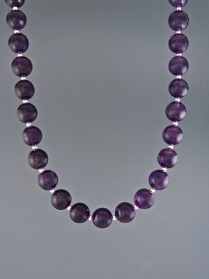 Amethyst Necklace - 8mm round stones with 2mm beads - A106