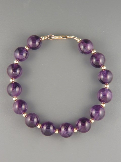 Amethyst Bracelet - 10mm stones with 3mm beads - A951