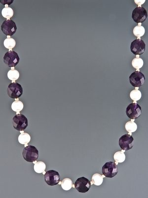 Amethyst & Pearl Necklace with Gold beads - A127