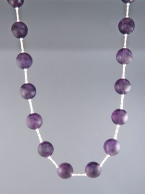 Amethyst Necklace - 10mm round stones Silver twist beads - A132