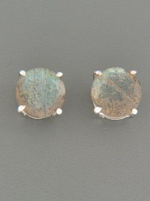 Labradorite Earrings - Sterling Silver stud - 8mm stones - LAB512