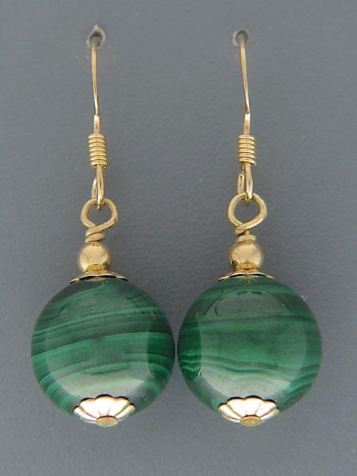 Malachite Earrings - 14ct Gold Filled - 12mm stones - M515G