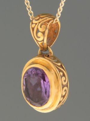 Amethyst Pendant - Gold Vermeil - A496GV