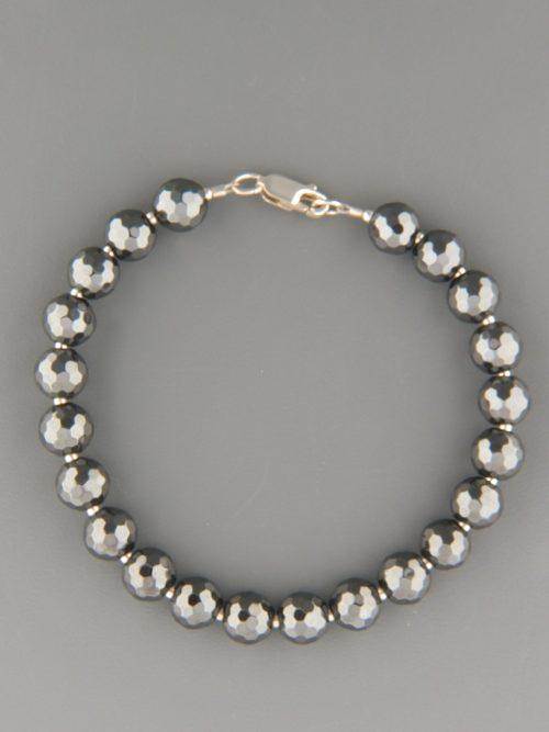 Hematite Bracelet - 8mm round faceted stones - H904