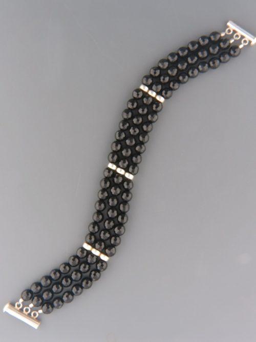 Onyx 3 strand Bracelet - Sterling Silver - OX931