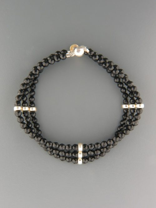 Onyx Bracelet - 4mm round faceted stones - OX935