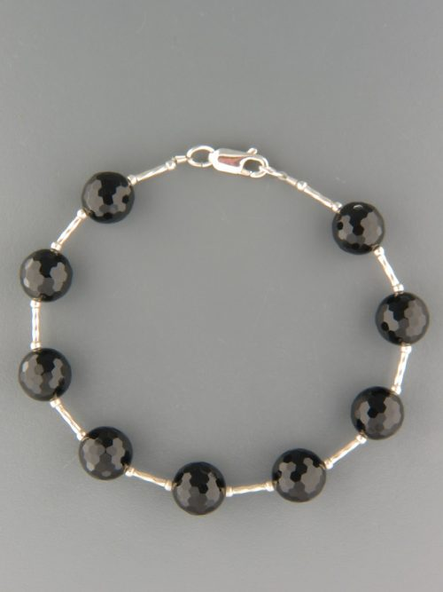 Onyx Bracelet - 10mm round faceted stones with Silver - OX937