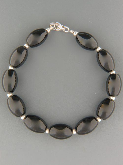 Onyx Bracelet - 10x14mm stones with Silver beads - OX933