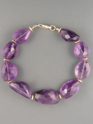 Amethyst Bracelet - irregular faceted stones - A960
