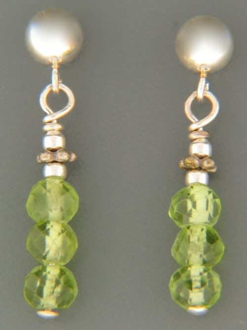 Peridot Earrings - Sterling Silver stud - P551
