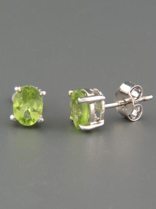 Peridot Earrings - Sterling Silver stud - 5x7mm stones - P506