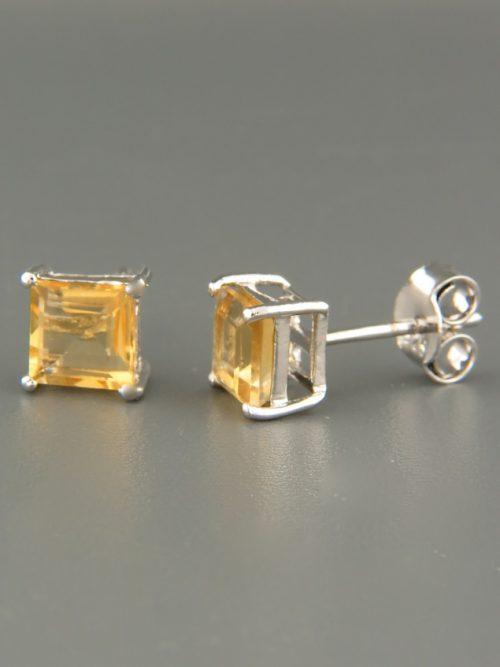 Citrine Earrings - Sterling Silver stud - 6mm stones - C501