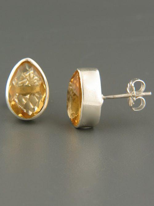 Citrine Earrings - Sterling Silver stud - 8x12mm stones - C503