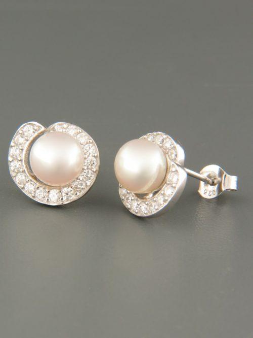 7mm white Pacific Pearl stud Earrings - Sterling Silver - Y674