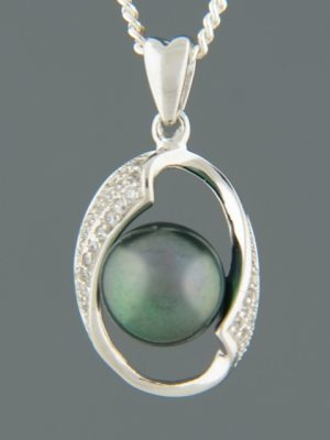 Pacific Pearl Pendant with Zircon - Sterling Silver - Y311