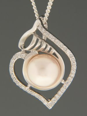 Pacific Pearl Pendant with Zircon - Sterling Silver - Y309