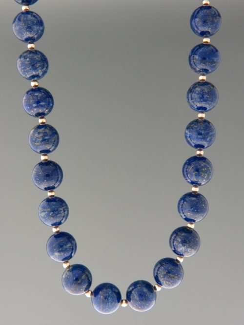 Lapis Lazuli Necklace - 12mm stones with Gold beads - LL041