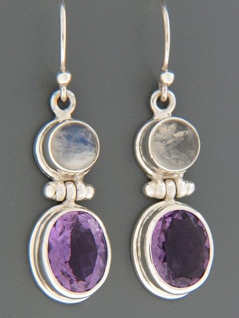 Amethyst & Moonstone Earrings - Sterling Silver - A697
