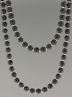 Onyx Necklace - 6mm round faceted stones with Silver beads - OX101