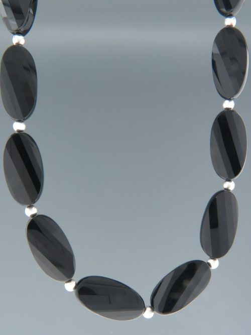 Onyx Necklace - oval faceted stones with Silver beads - OX103