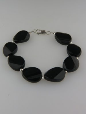 Onyx Bracelet - 15x20mm faceted stones with Sterling Silver beads - OX940