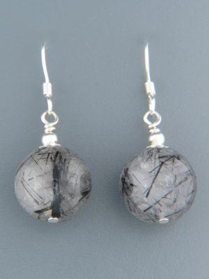 Tourmalinated Quartz Earrings - Sterling Silver - TQZ517