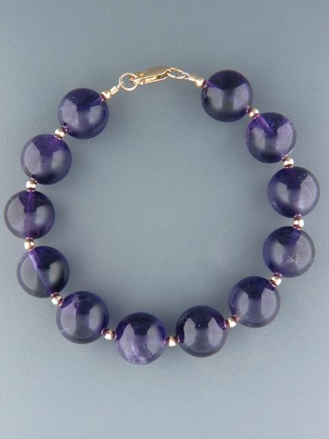 Amethyst Bracelet - 14mm round stones